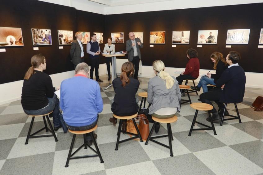 Pressekonferenz im Ausstellungsraum des Industriemuseums Nürnberg.