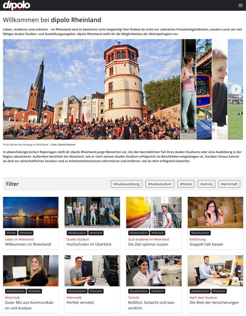 Unterseite Rheinland der Website dipolo.de