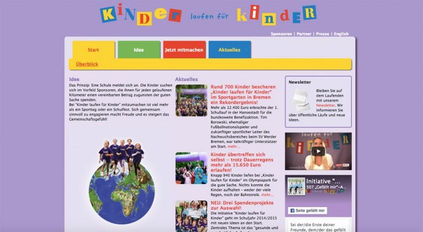 Startseite der Website Kinder laufen für Kinder