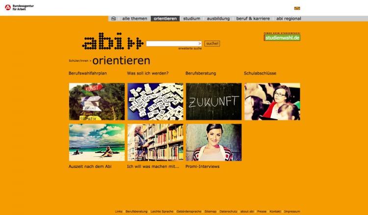 Unterseite der Website abi.de, Orientieren