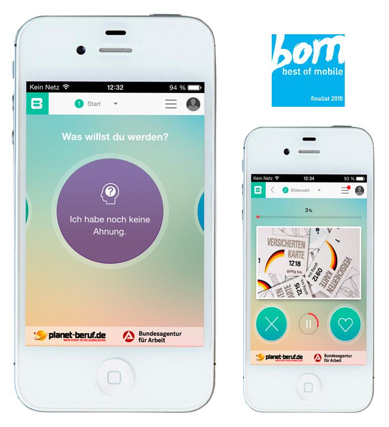 Zwei Smartphones mit Ansichten der Berufe Entdecker App und der Auszeichnung Finalist von best of mobile 2015