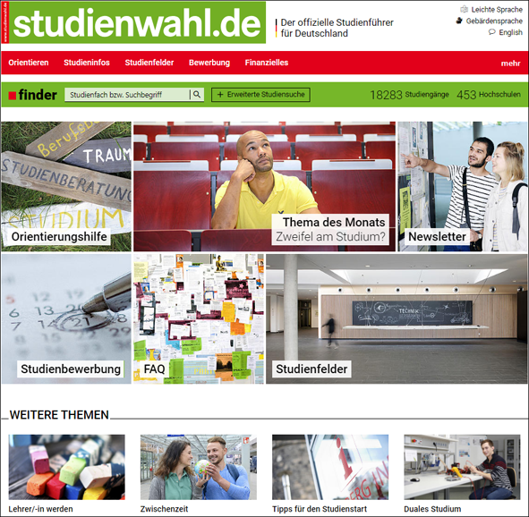 Studienwahl Startseite