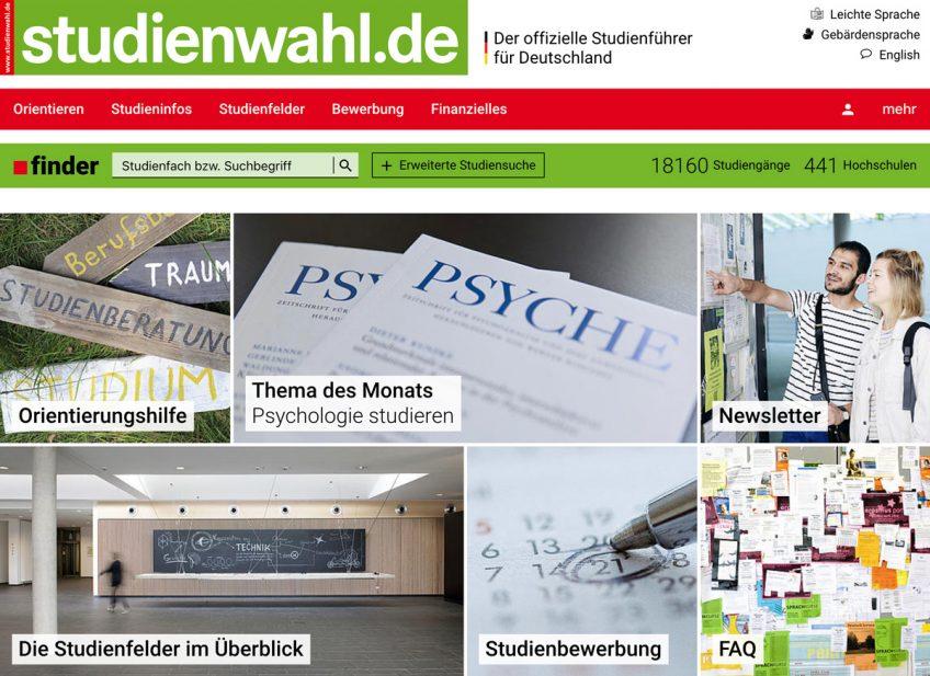 Startseite des Portals studienwahl.de