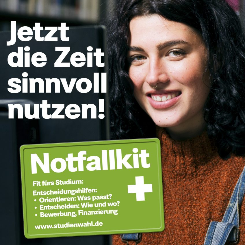 Studienwahl Notfallkit lächelnde Frau