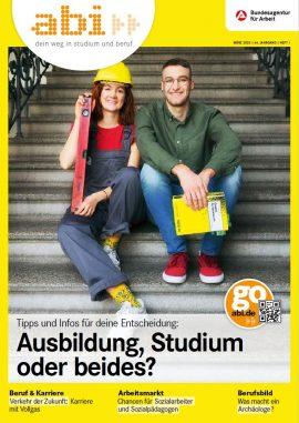 abi Magazin 2/2020 eine junge Frau und ein junger Mann sitzen auf einer Treppe