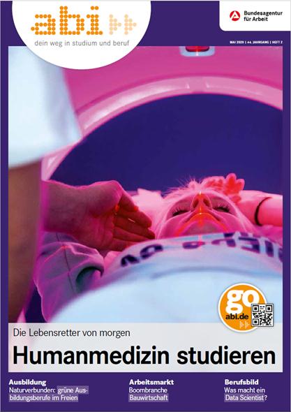 Cover abi Magazin 2/2020 eine Person in einem MRT