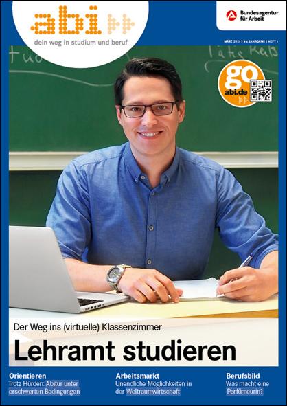 Das Bild zeigt das Cover der ersten Ausgabe des abi-Magazins 2021.