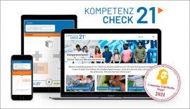 Der Kompetenzcheck21 auf verschiedenen Endgeräten mit Comedius EduMedia Siegel 2021
